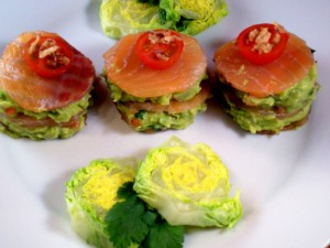 MILHOJAS DE SALMON Y AGUACATE